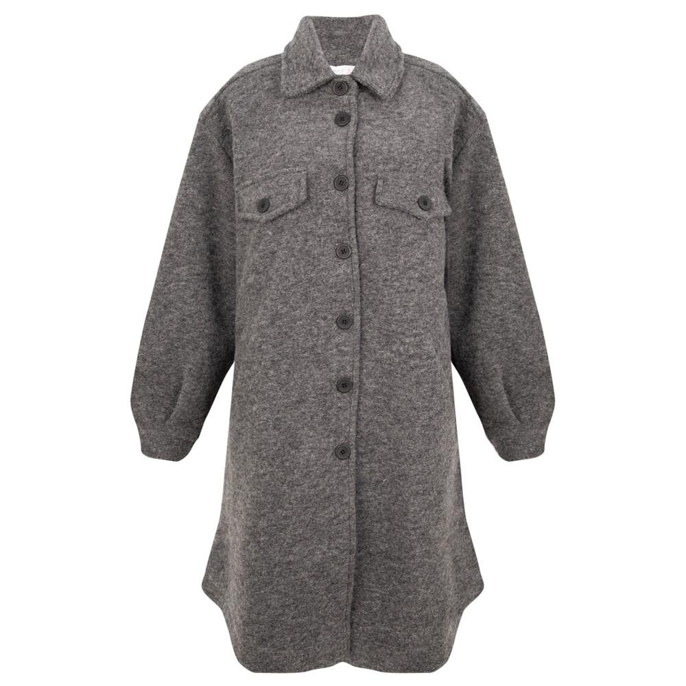 Amazing Woman Lucerne Wool Textured Longline Shacket Grey