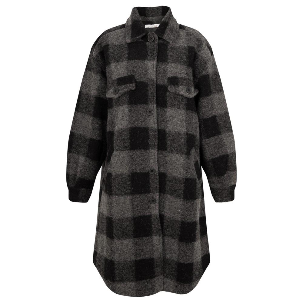 Amazing Woman Lucerne Wool Textured Longline Shacket Black / Grey