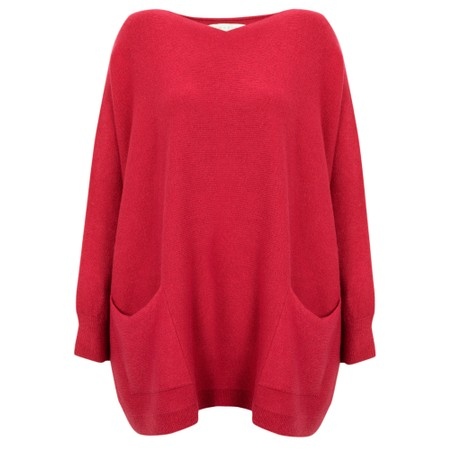Amazing Woman  Carys X Round Neck Oversized Jumper - Red