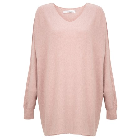 Amazing Woman Coco V Neck Oversized Lurex Knit - Pink