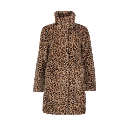 Frandsen Supersoft Faux Fur Leopard Coat - Beige