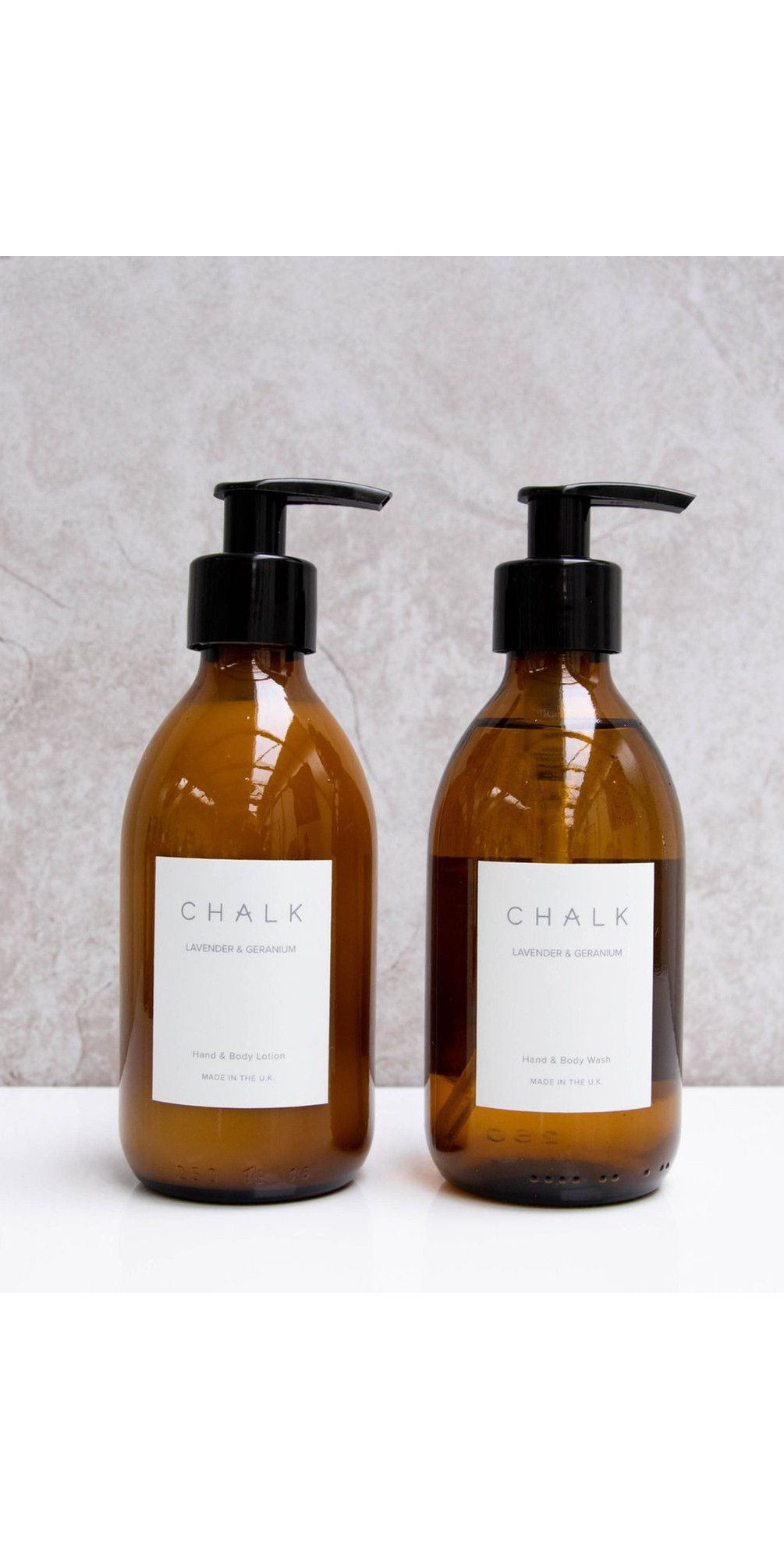 Lavender and Geranium Amber Glass Apothecary Hand Lotion Pump main image