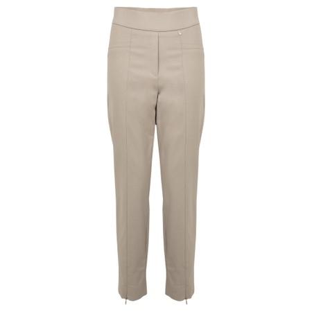 Robell  Nena 09 Putty Slimfit Fleece Lined Ankle Length Trouser - Beige