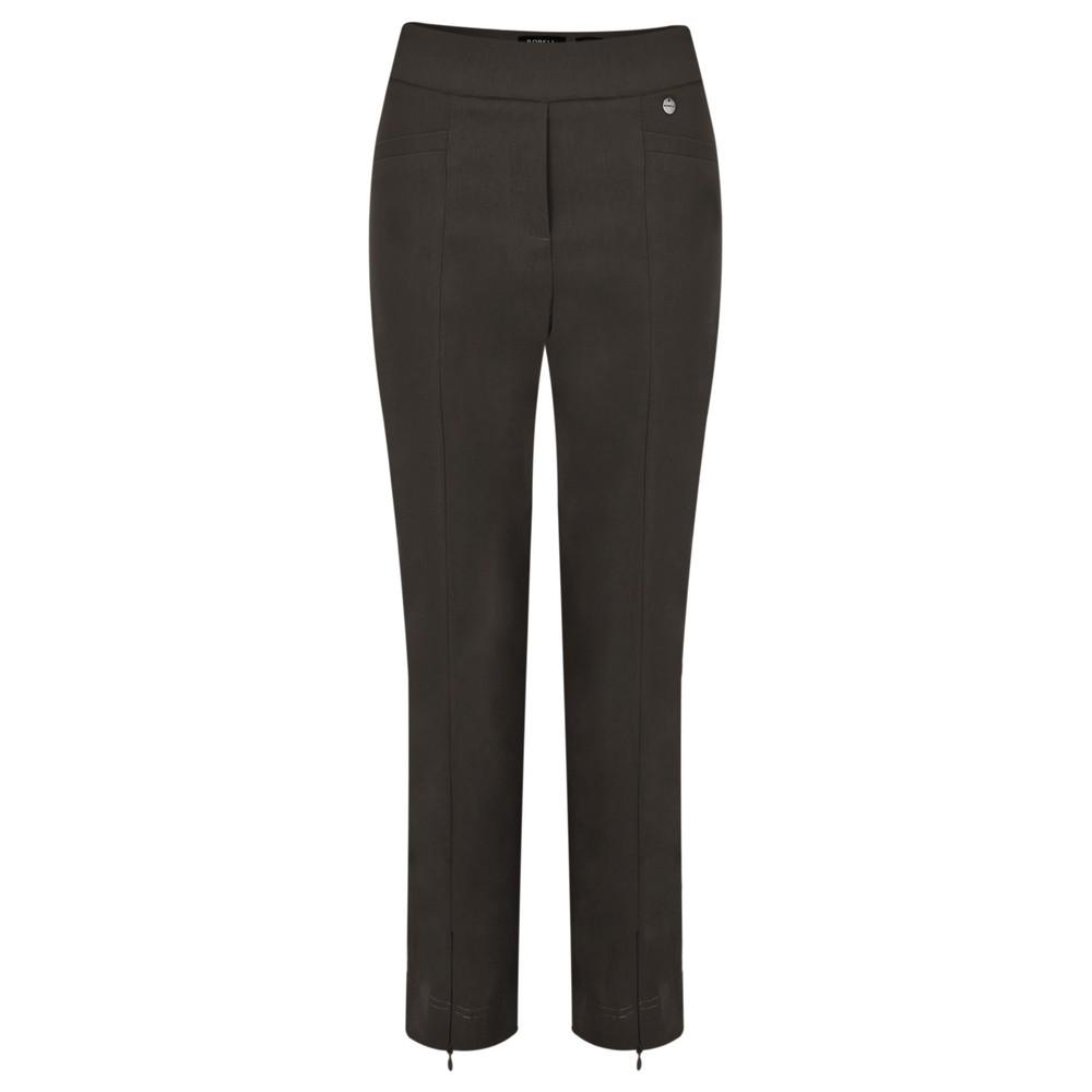 Robell Nena 09 Slimfit Fleece Lined Ankle Length Trouser  Mink Brown 18