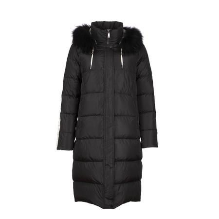 Frandsen Striped Coat with Fur Trim Hood - Black
