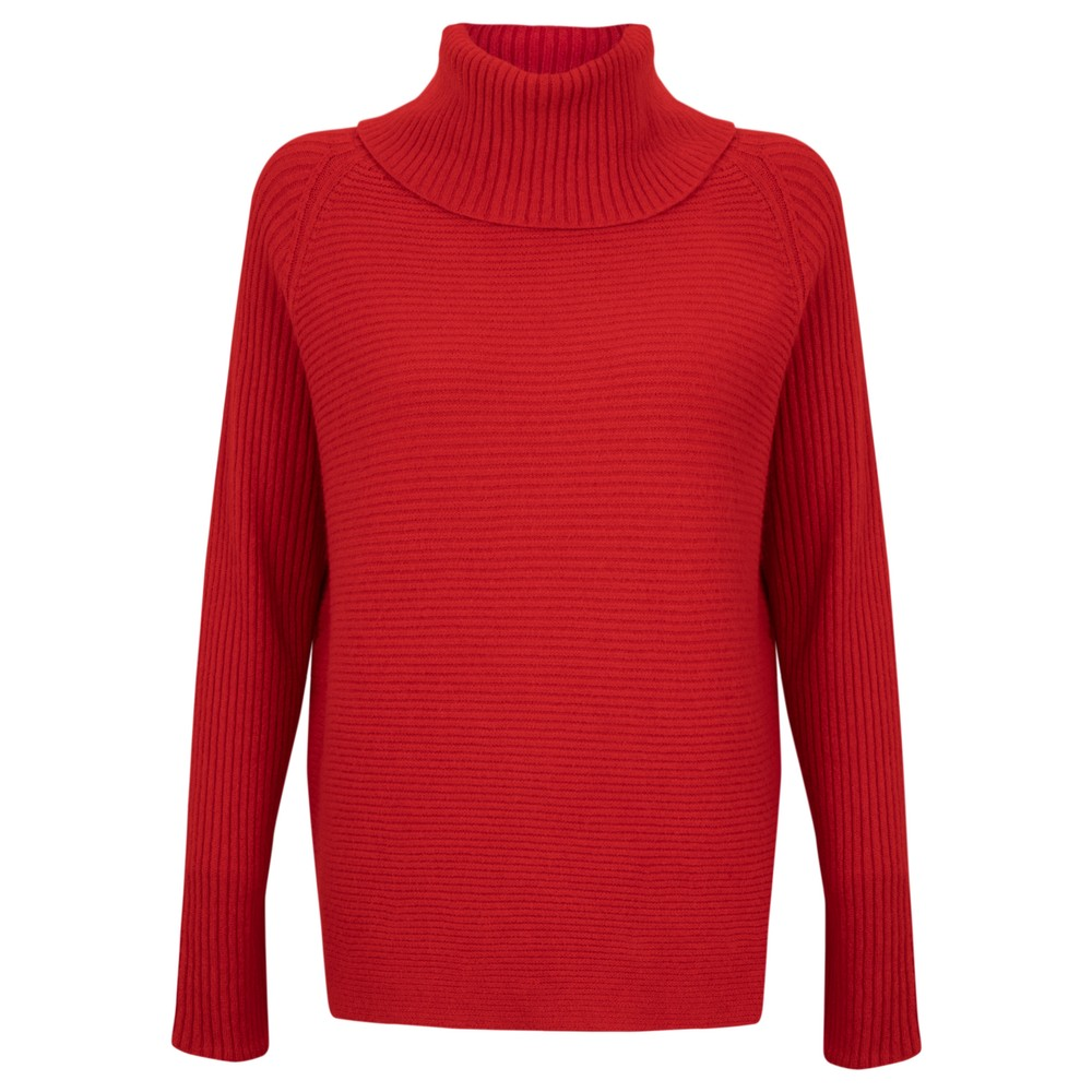 Amazing Woman Fliss Roll Neck Raglan Sleeve Ribbed Knit Red