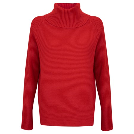 Amazing Woman Fliss Roll Neck Raglan Sleeve Ribbed Knit - Red