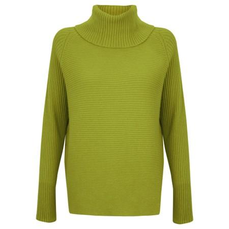 Amazing Woman  Fliss Roll Neck Raglan Sleeve Ribbed Knit - Green