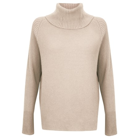 Amazing Woman Fliss Roll Neck Raglan Sleeve Ribbed Knit - Beige