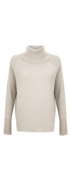 Amazing Woman Fliss Roll Neck Raglan Sleeve Ribbed Knit Off White