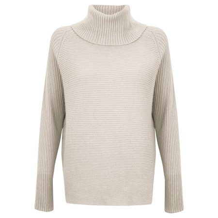 Amazing Woman Fliss Roll Neck Raglan Sleeve Ribbed Knit - White