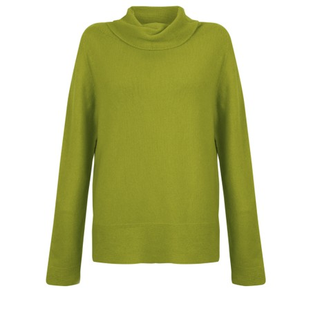 Amazing Woman  Fara Cowl Neck Contrast Rib Hem Knit Jumper - Green