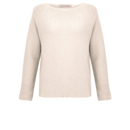 Amazing Woman Fiona Round Neck Raglan Sleeve Rib Knit Jumper - White