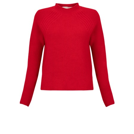 Amazing Woman  Fran Roll Neck Contrast Rib Knit - Red