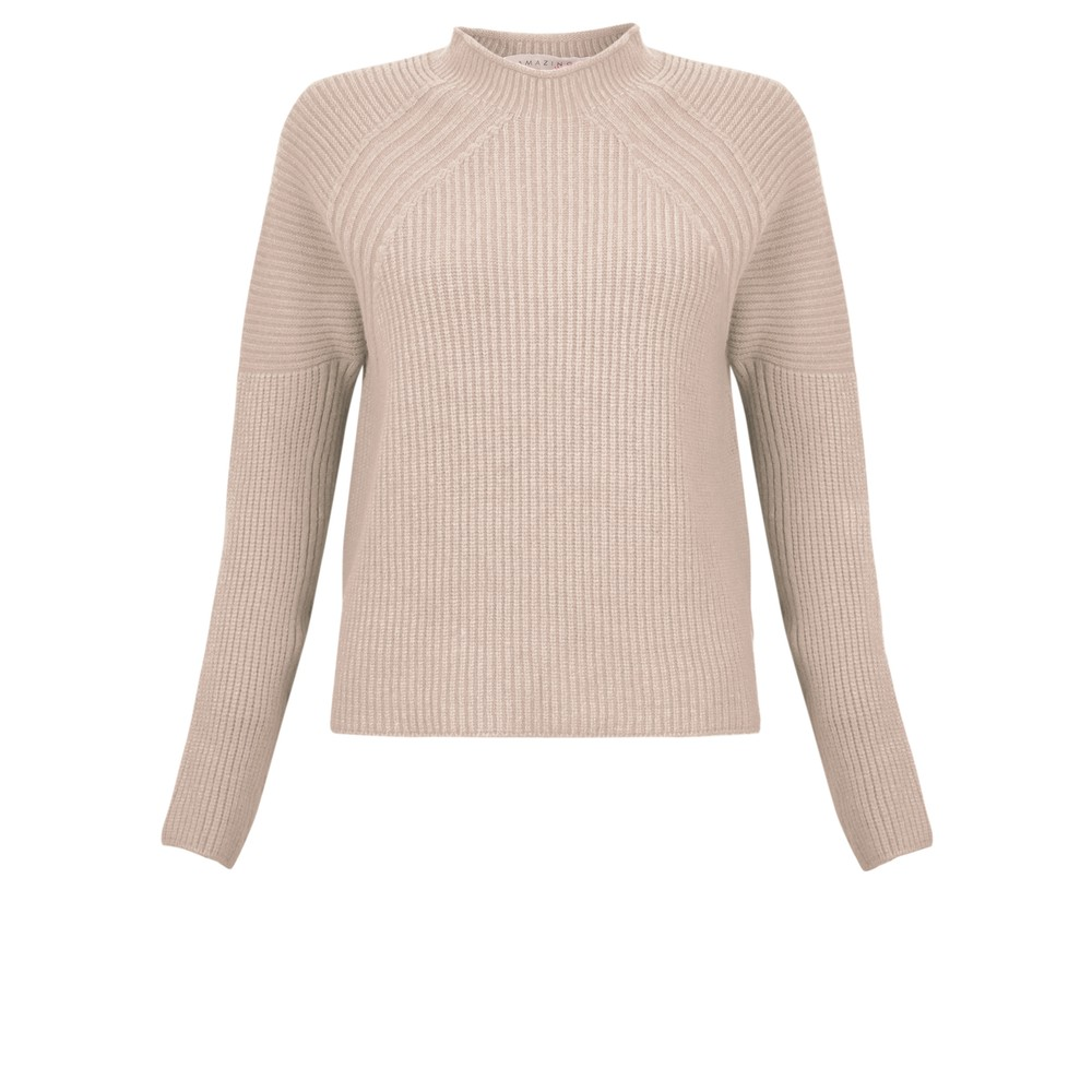 Amazing Woman Fran Roll Neck Contrast Rib Knit Beige