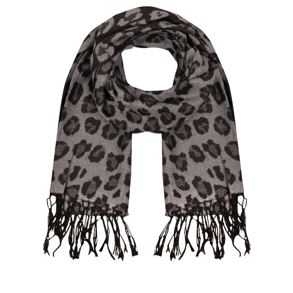 Gemini Label Accessories Leopards Print Scarf Black