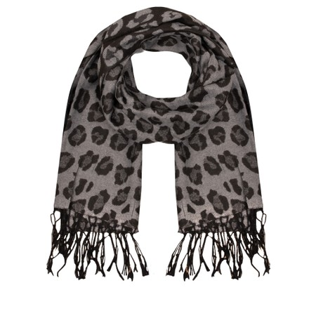 Gemini Label  Leopards Print Scarf - Black