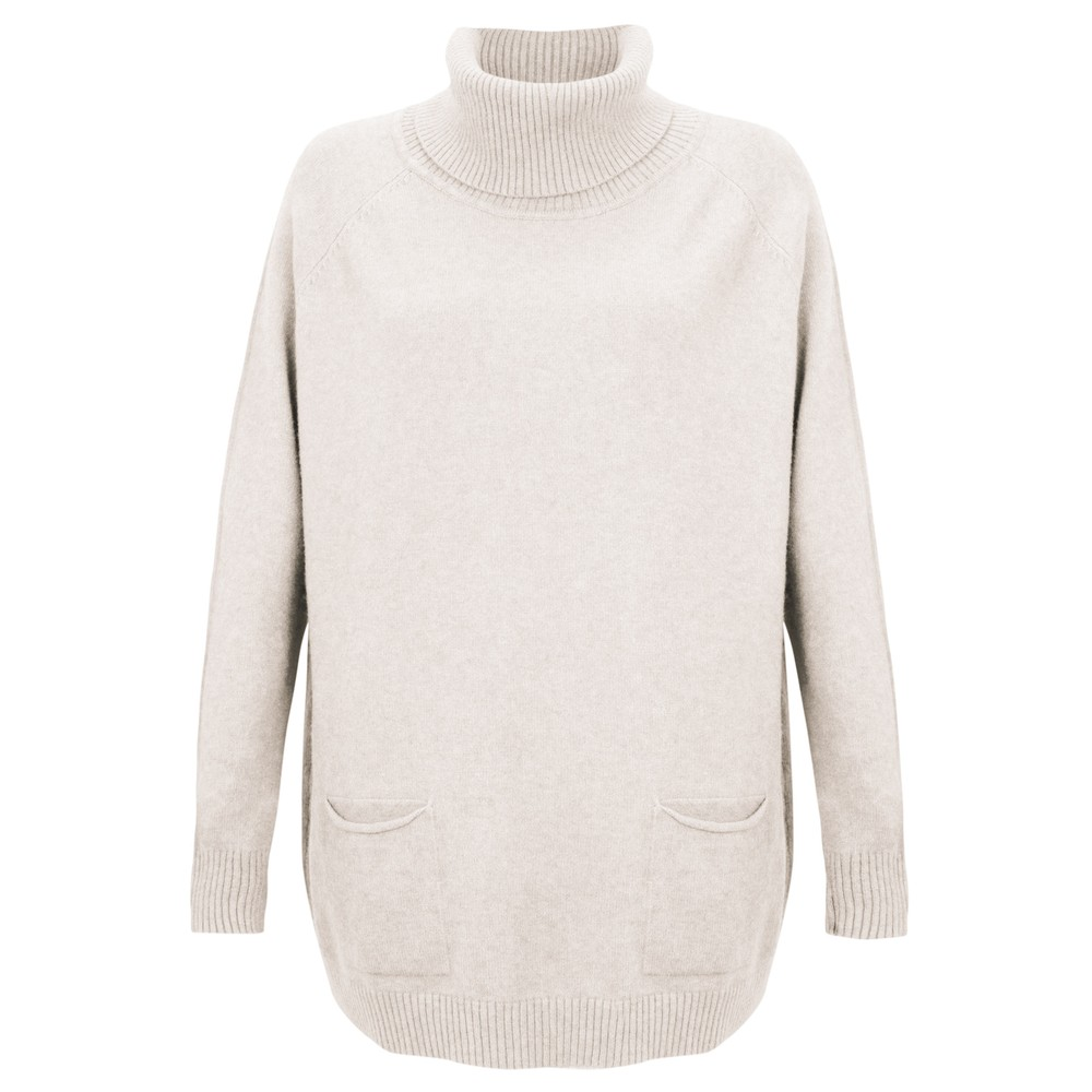 Amazing Woman  Anna Two Pocket Relaxed Fit Jumper Off White