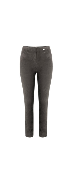 Robell Rose Dark Taupe Stretch Faux Suede Trouser Dark Taupe 38