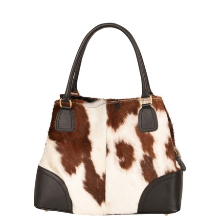 Gemini Label  Coco Cow Hide Handbag - Brown