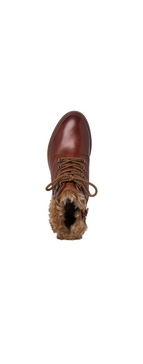 Tamaris  Hiker Leather Duotex Fur Trim Boot  Chestnut