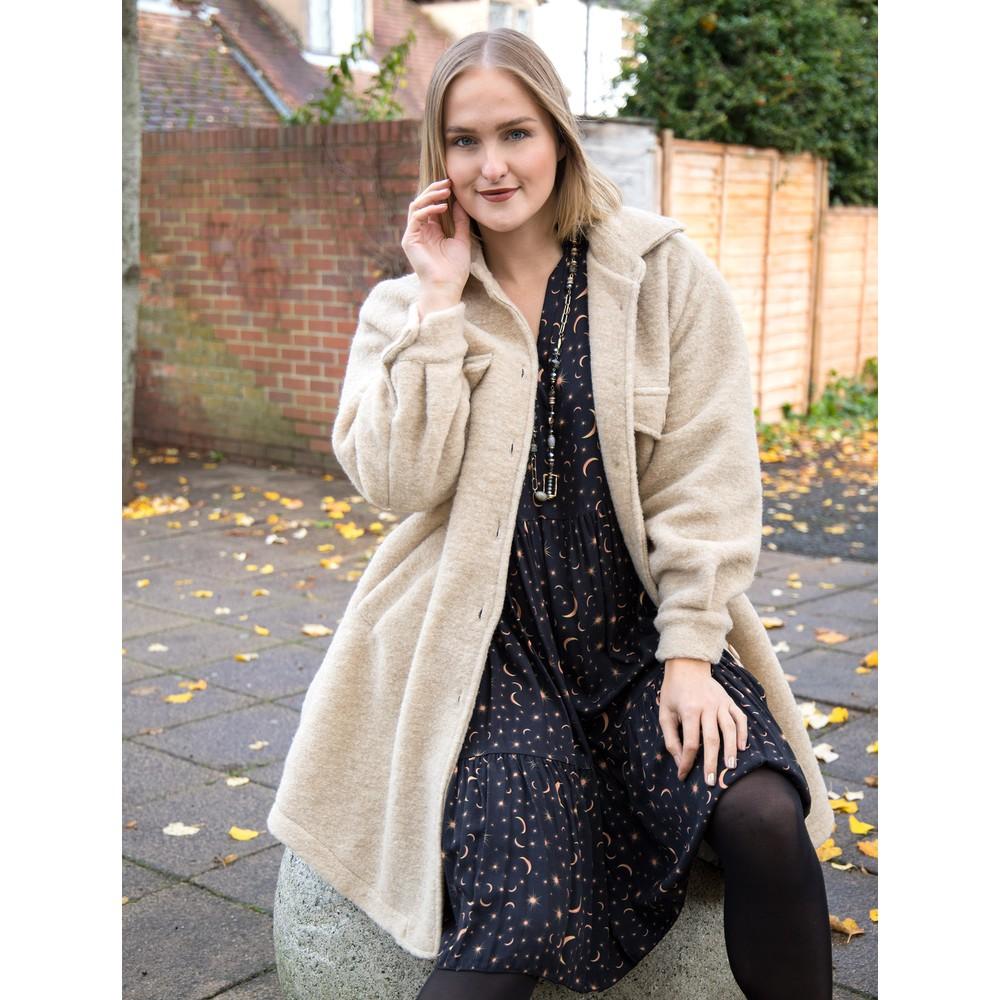 Amazing Woman Lucerne Wool Textured Longline Shacket Beige