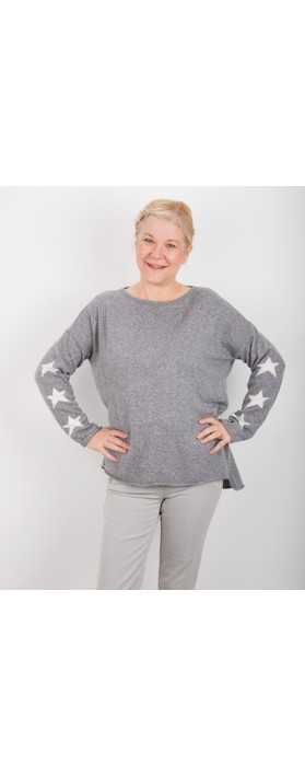 Luella Georgia Cashmere Blend Jumper with Stars on Sleeve  Mid Grey / Off White