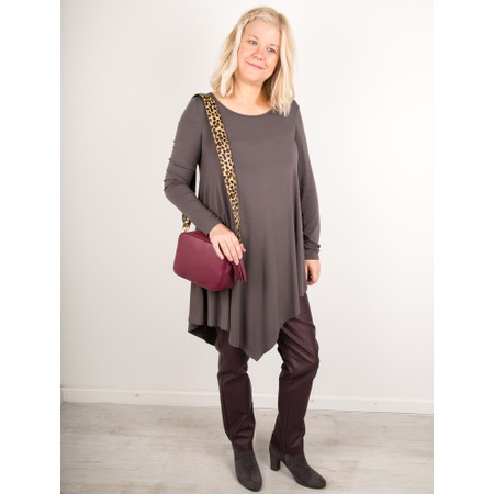 Thing Asymmetric Hem Long Sleeve Bamboo Jersey Long Top - Grey