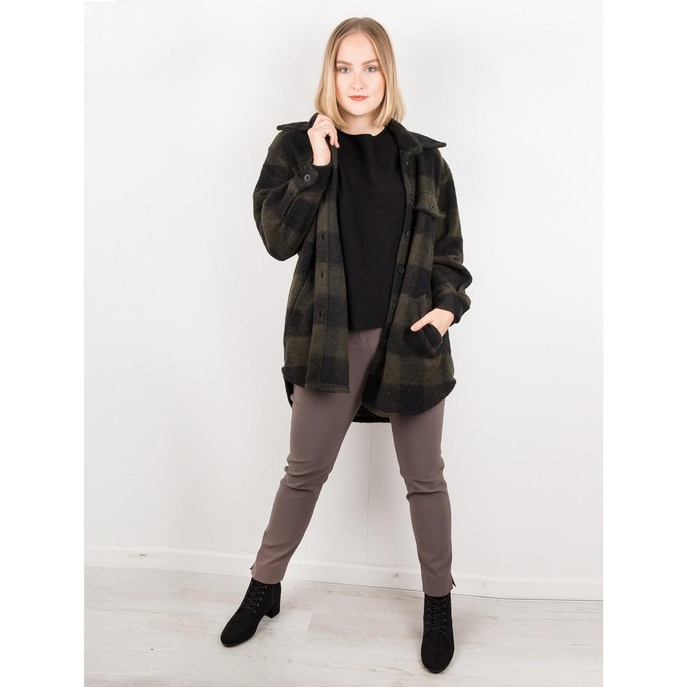 Amazing Woman Lucerne Wool Textured Longline Shacket Black / Khaki