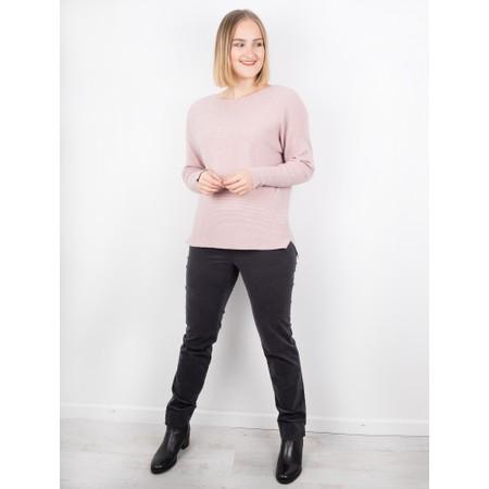 Robell  Marie Dark Grey Stretch Cotton Velvet Slim Full Length Trouser - Grey