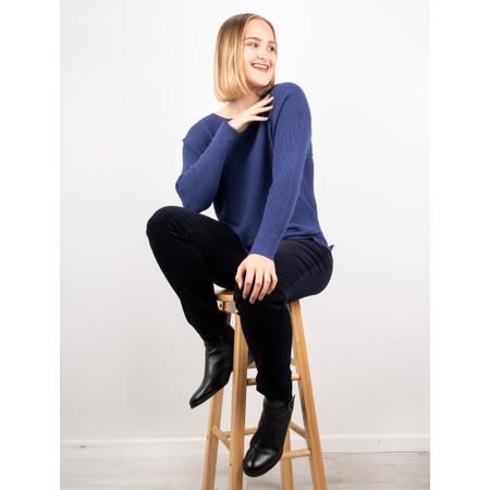 Amazing Woman  Celia Round Neck Ribbed Knit - Blue