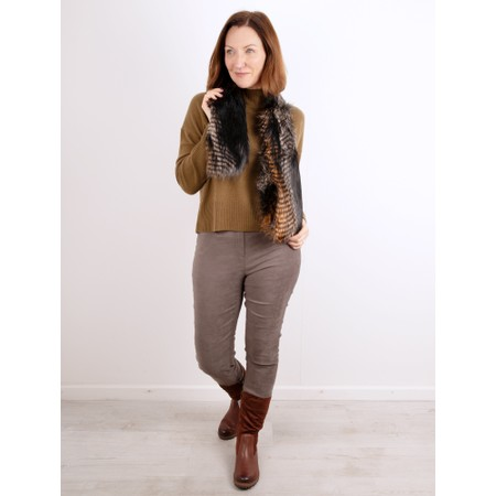 Robell Rose Dark Taupe Stretch Faux Suede Trouser - Brown