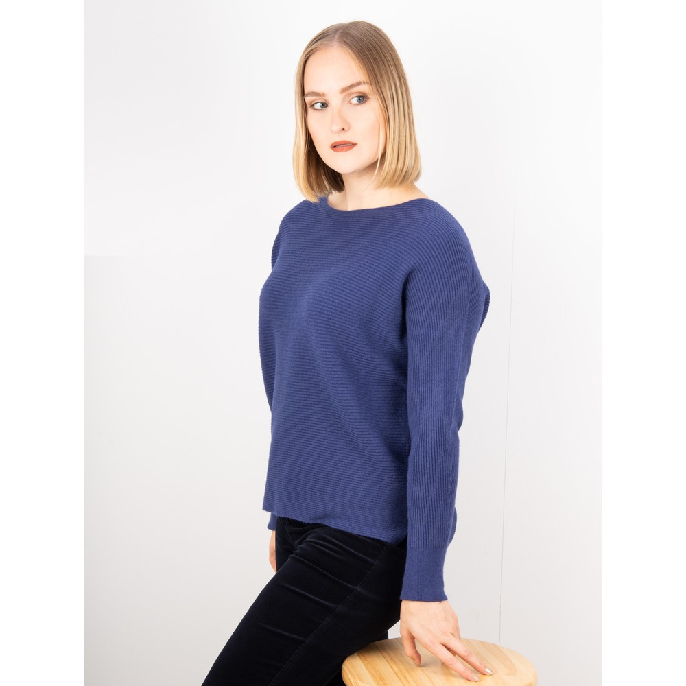 Amazing Woman Celia Round Neck Ribbed Knit Bright Navy Blu
