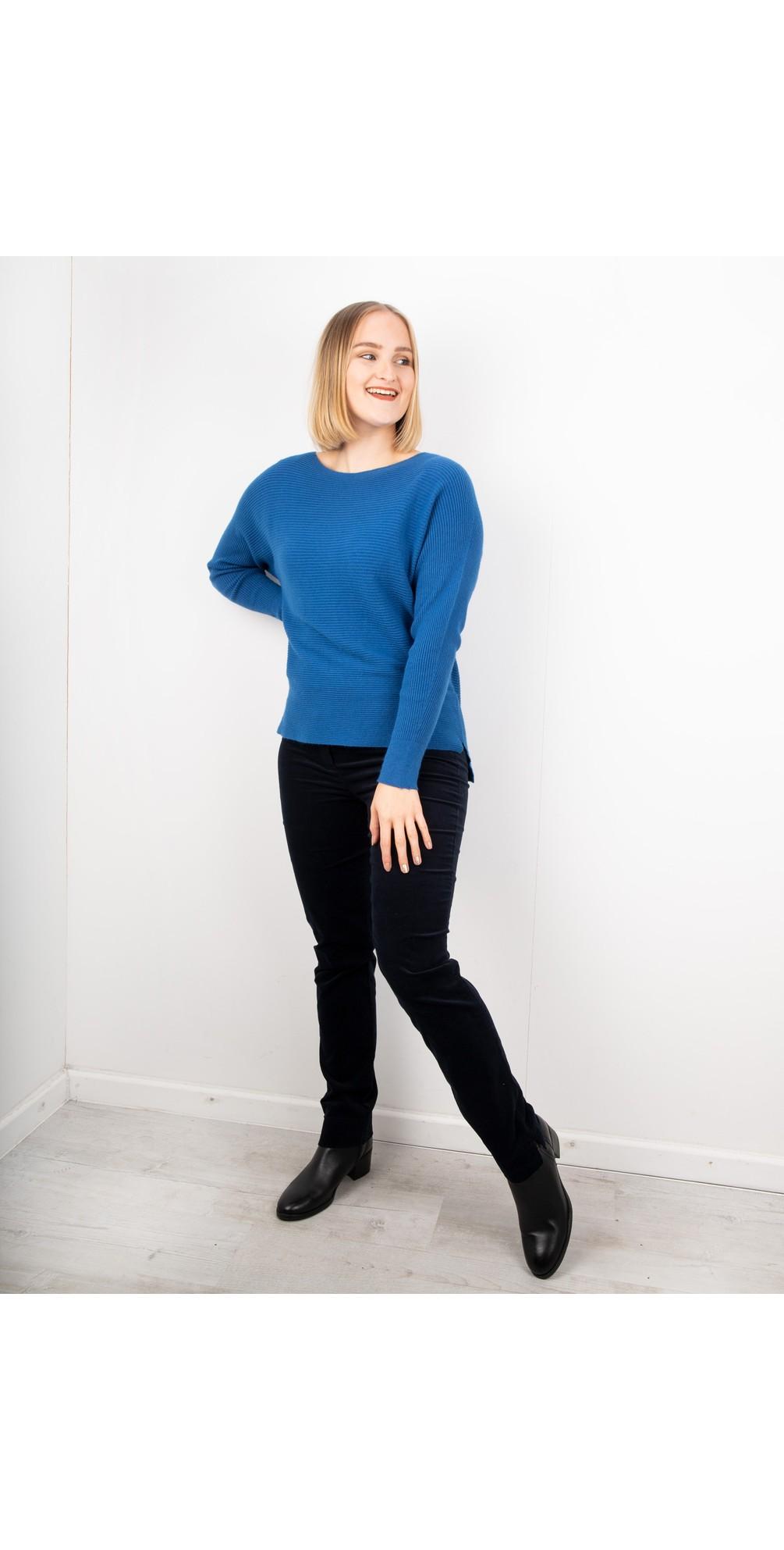 Marie Navy Stretch Cotton Velvet Slim Full Length Trouser main image
