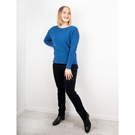 Robell Marie Navy Stretch Cotton Velvet Slim Full Length Trouser - Blue