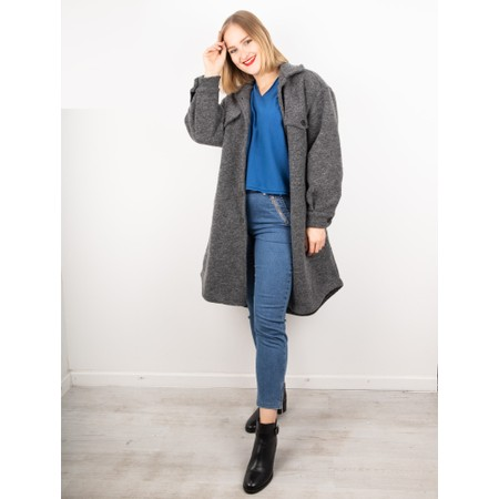 Amazing Woman  Lucerne Wool Textured Longline Shacket - Blue