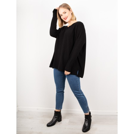Amazing Woman  Coco V Neck Oversized Lurex Knit - Black