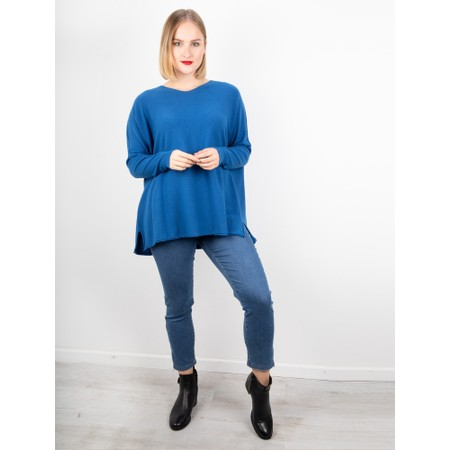 Amazing Woman  Coco V Neck Oversized Lurex Knit - Blue
