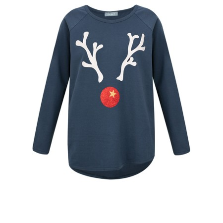 Chalk Tasha Reindeer Top - Blue