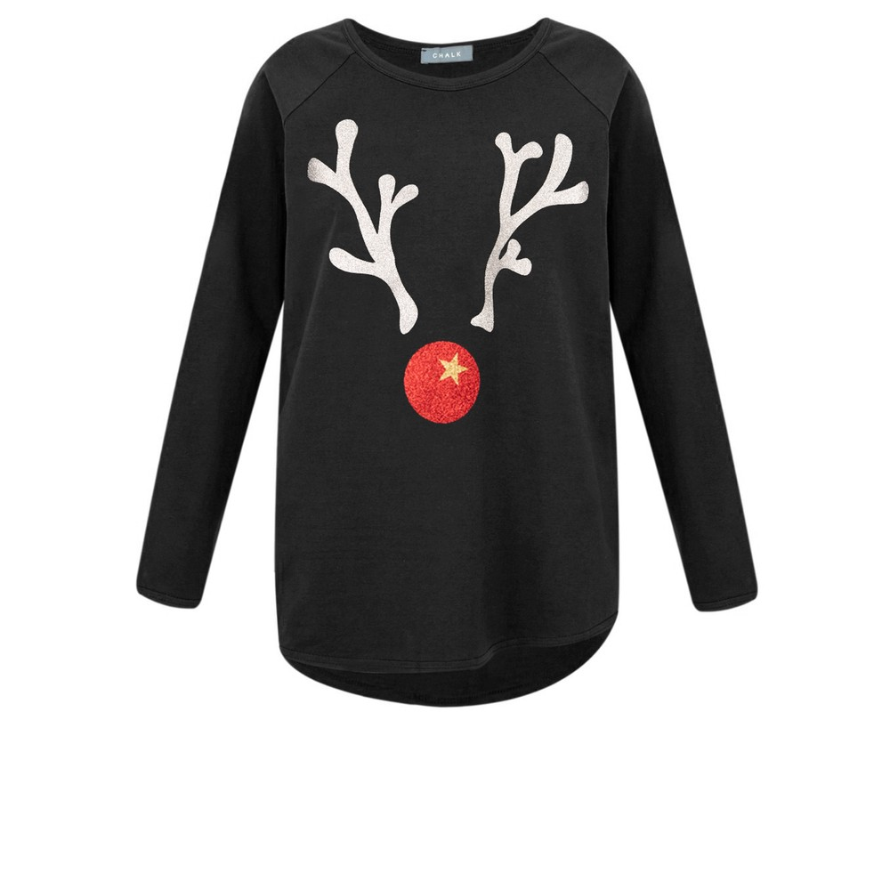 Chalk Tasha Giant Reindeer Top Black / Silver Gltr / Red Gltr