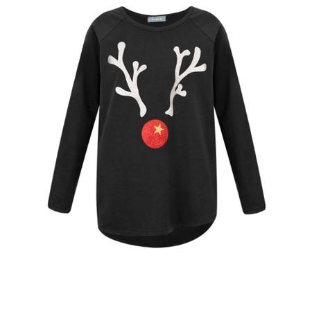 Chalk Tasha Giant Reindeer Top - Black