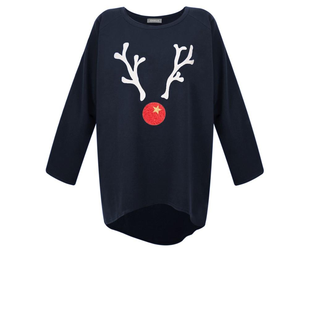 Chalk Robyn Giant Reindeer Top Navy / White Gltr / Red Gltr