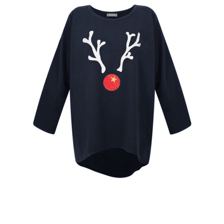 Chalk Robyn Giant Reindeer Top - Blue