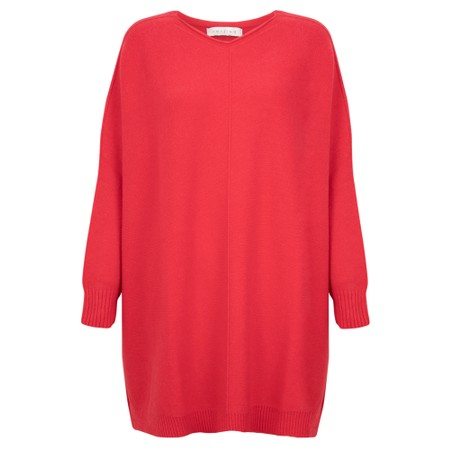 Amazing Woman  Cassi Round Neck Front Seam Knit - Red