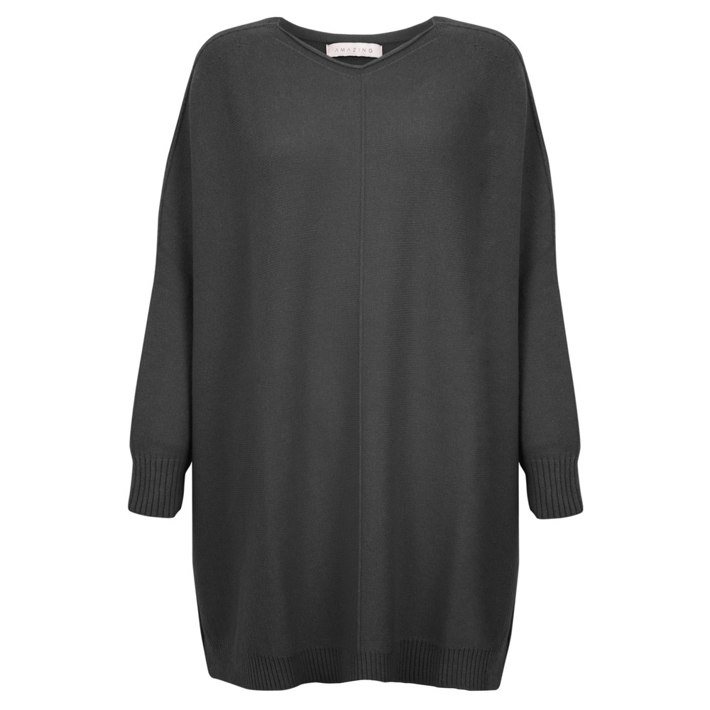 Amazing Woman Cassi X Round Neck Front Seam Knit Charcoal
