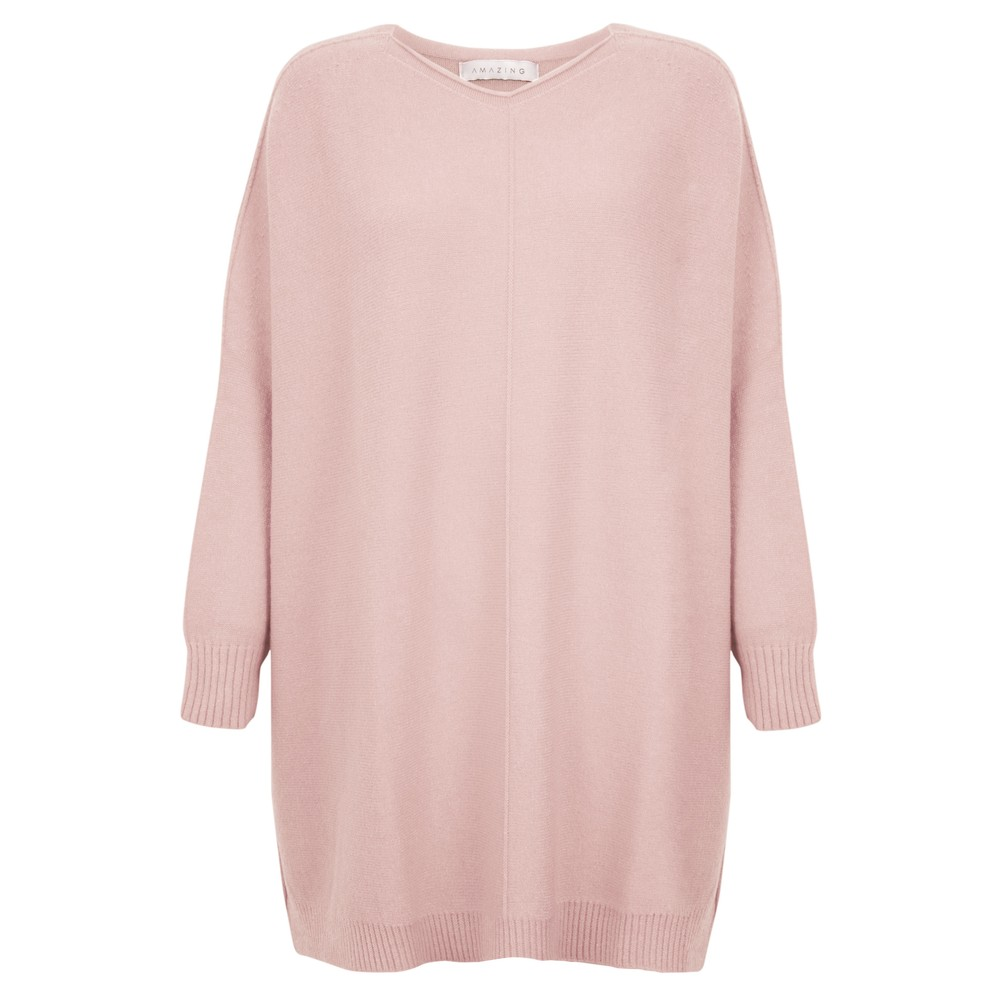 Amazing Woman Cassi X Round Neck Front Seam Knit Antique Rose