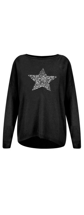 Luella Sequin Star Cashmere Blend Jumper Black / Silver