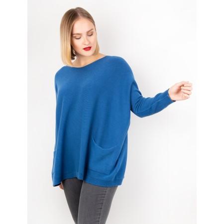 Amazing Woman  Carys X Round Neck Oversized Jumper - Blue