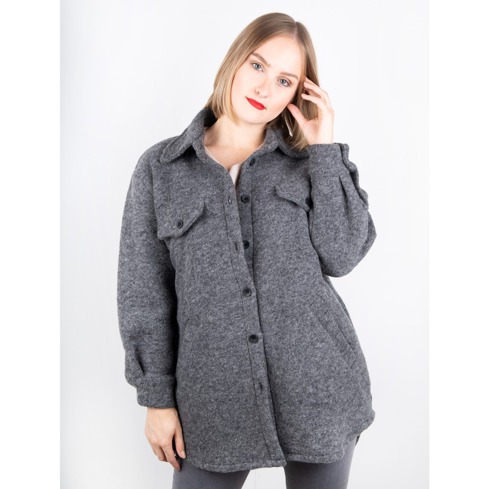 Amazing Woman Montreux Boiled Wool Shacket Grey