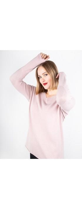 Amazing Woman Cleo V Neck Lurex Trim Supersoft Fine Knit Antique Rose